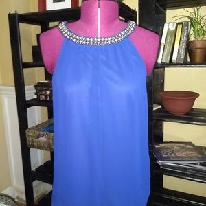 Express sleeveless lined jeweled blouse